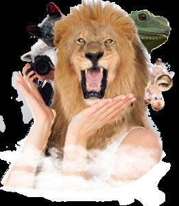 un león medio humano abriendo la boca